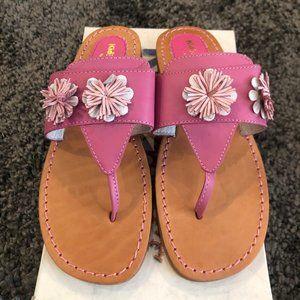 Girls Kid Express Fuchsia Flower Flip Flops